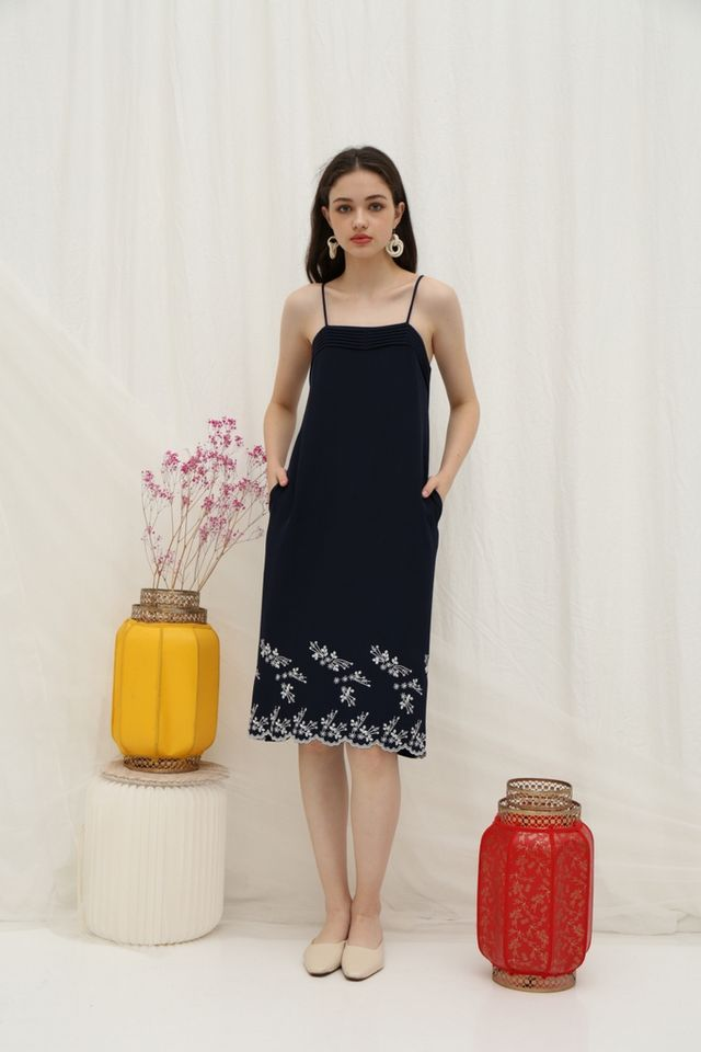 Reba Floral Embroidery Midi Dress in Navy
