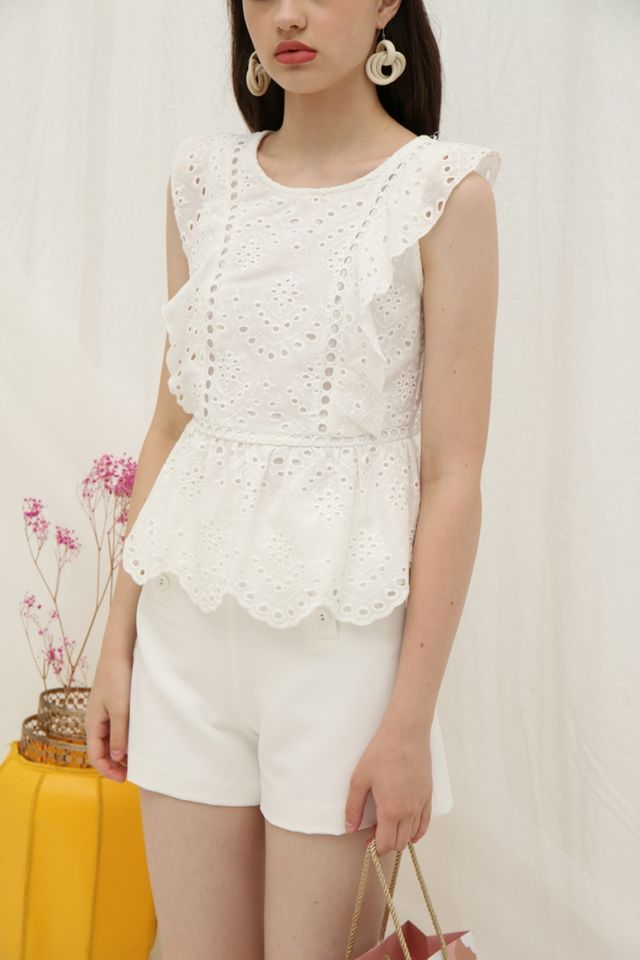 Roxana Eyelet Ruffled Top in White