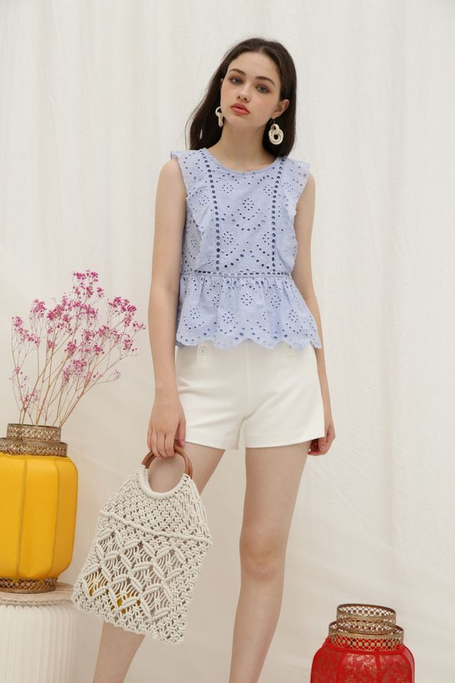 Roxana Eyelet Ruffled Top in Powder Blue