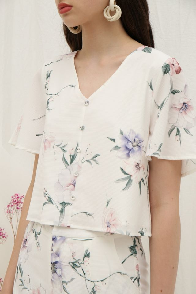 Winona Floral Button Top in White