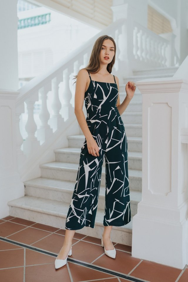 Veda Abstract Wide Leg Jumpsuit in Forest
