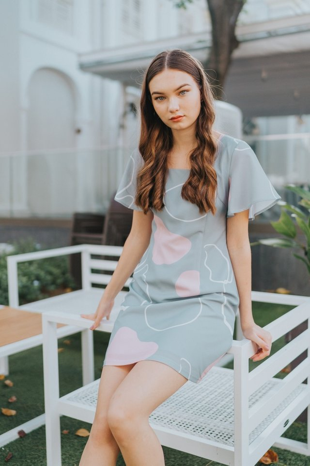 Davina Square Neck Dress in Mint