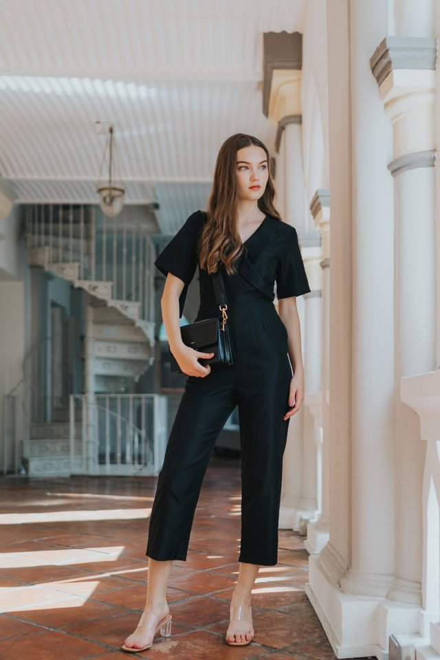 Estella Wrap Front Jumpsuit in Black