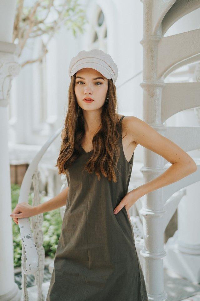 Baize Dropwaist Midi Dress in Olive