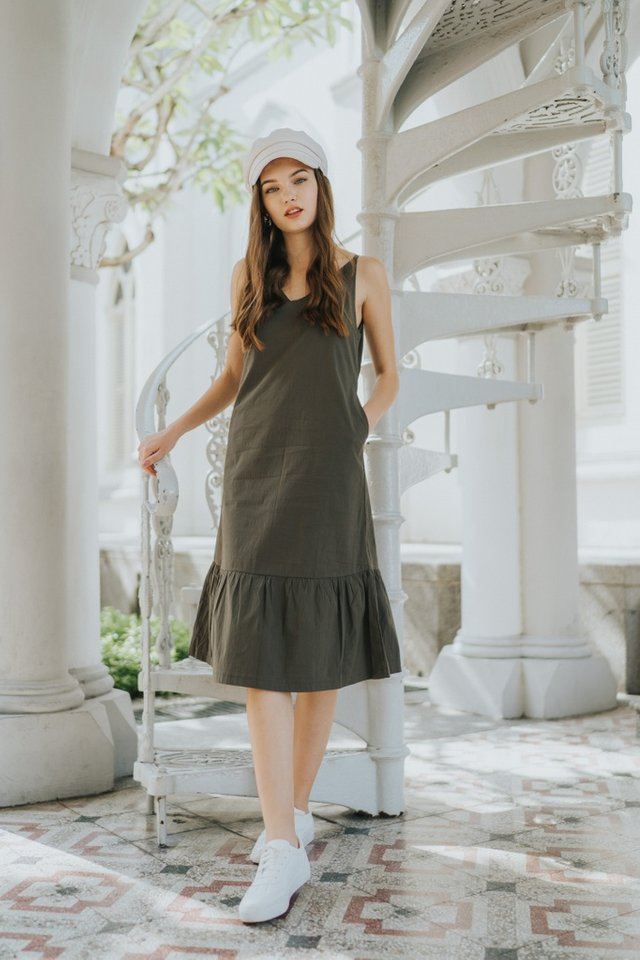 Baize Dropwaist Midi Dress in Olive