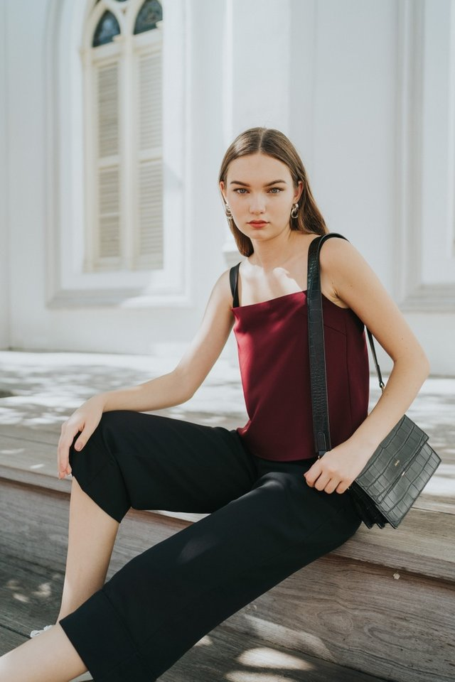 Marleigh Square Neck Top in Wine
