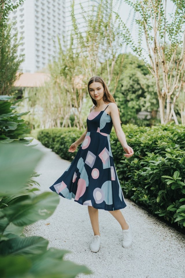 Olivia Geometric Midi Dress in Navy
