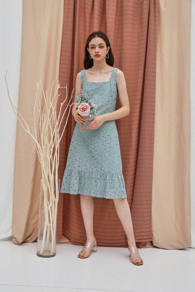 Zabel Premium Lace Midi Dropwaist Dress in Sage