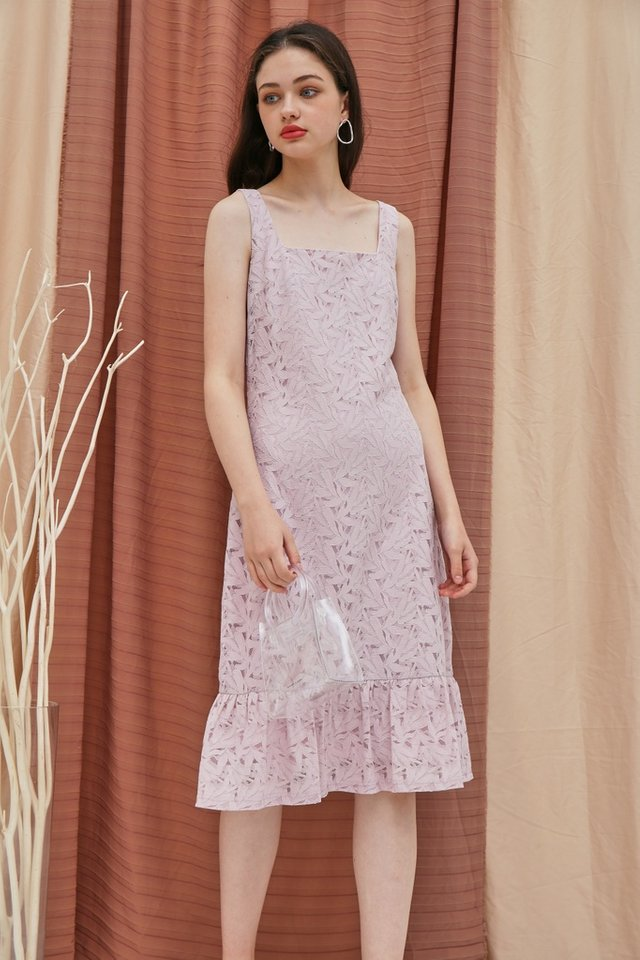 Zabel Premium Lace Midi Dropwaist Dress in Pink