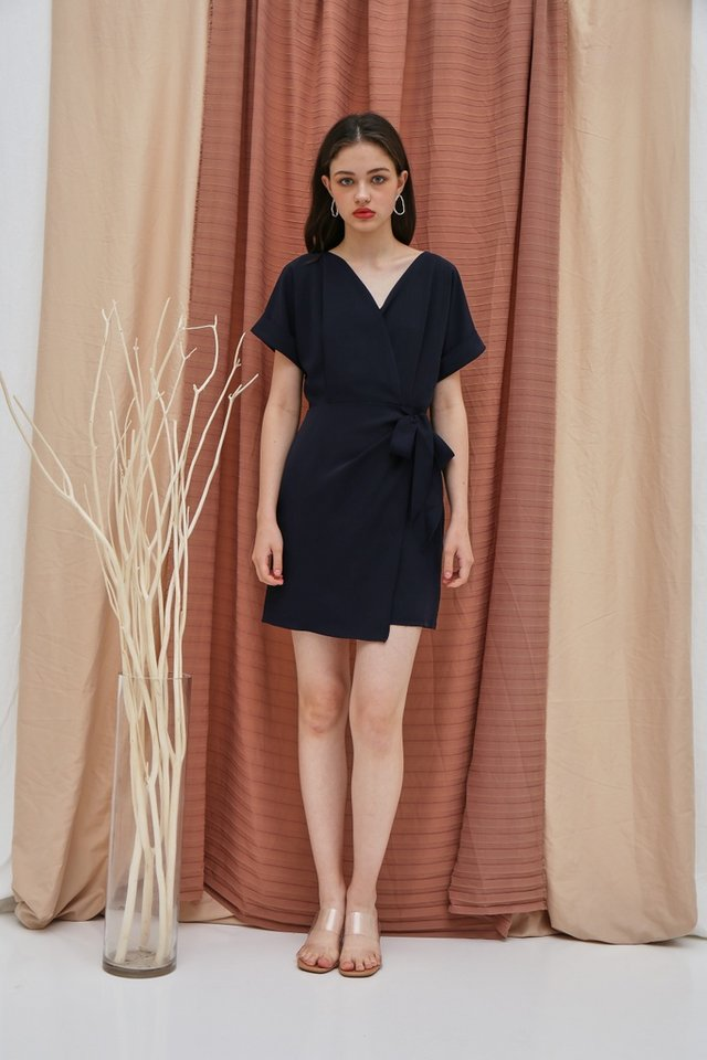 *BACKORDER* Valetta Sleeved Wrap Dress in Navy