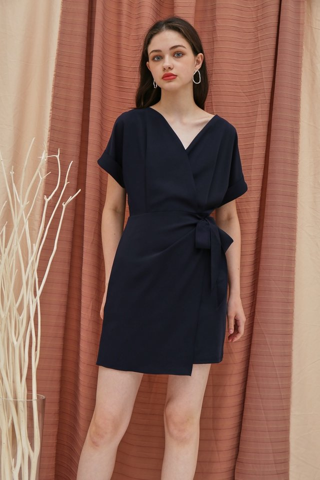Valetta Sleeved Wrap Dress in Navy