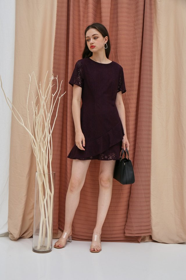 Lainey Lace Ruffles Hem Dress in Deep Purple