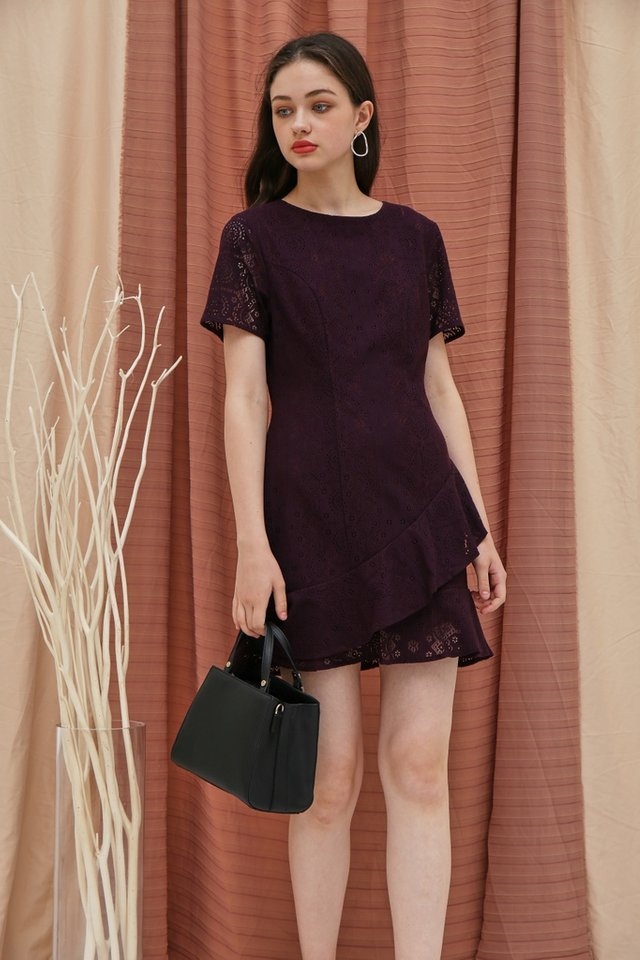 Lainey Lace Ruffles Hem Dress in Deep Purple