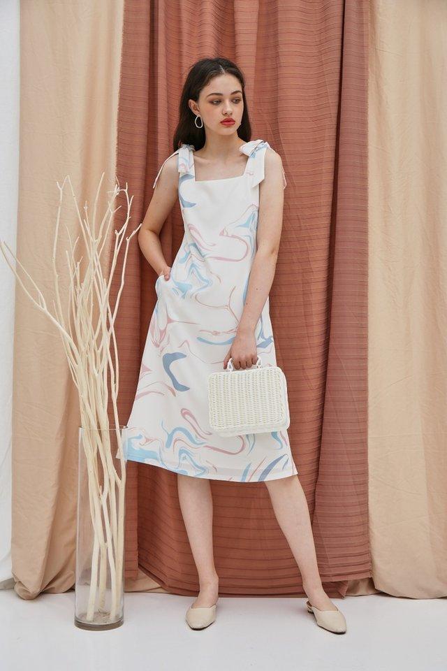 Riva Abstract Tie Ribbon Midi Dress in White