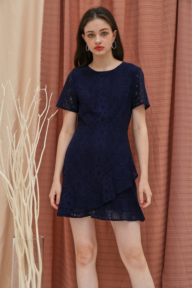 Lainey Lace Ruffles Hem Dress in Navy