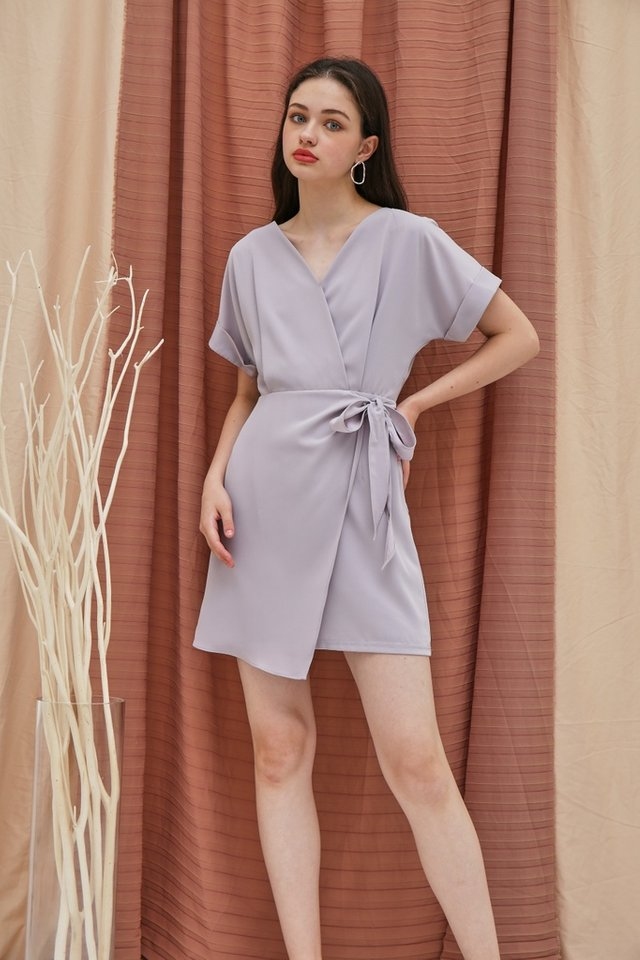 Valetta Sleeved Wrap Dress in Grey