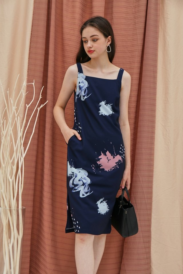 Haley Watercolour Square Neck Midi Dress in Navy