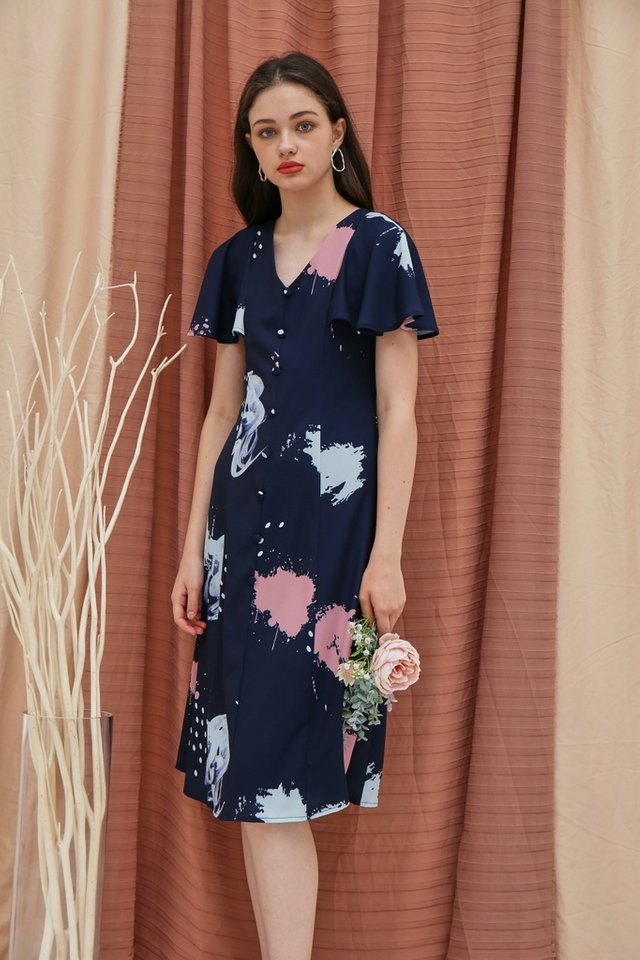 Taina Watercolour Button Midi Dress in Navy