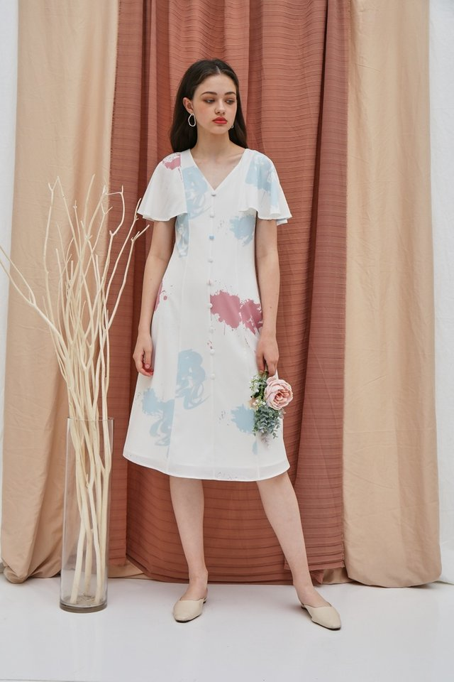 Taina Watercolour Button Midi Dress in White