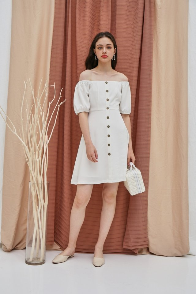 Dacey 2 Way Button Square Neck Dress in White