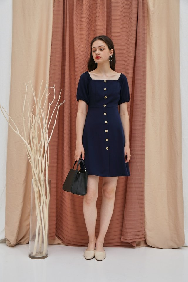 Dacey 2 Way Button Square Neck Dress in Navy