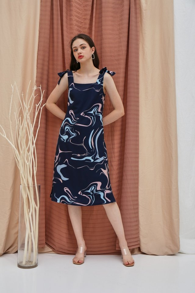 Riva Abstract Tie Ribbon Midi Dress in Navy