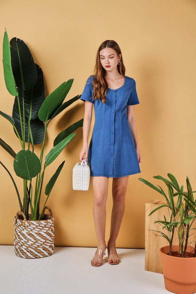 Jaycee Denim Panel Dress in Mid Wash