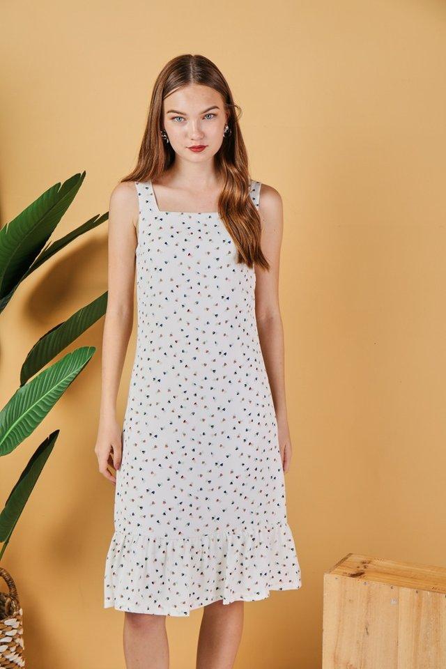 *Online Exclusive* Keyla Heart-Shaped Dropwaist Midi Dress in White