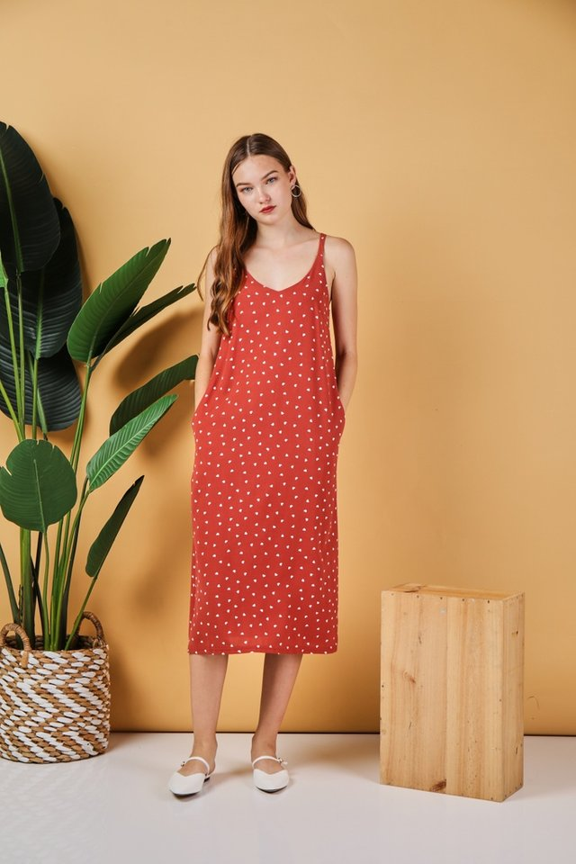 *Online Exclusive* Clare Heart-Shaped Midi Camisole Dress in Coral Red