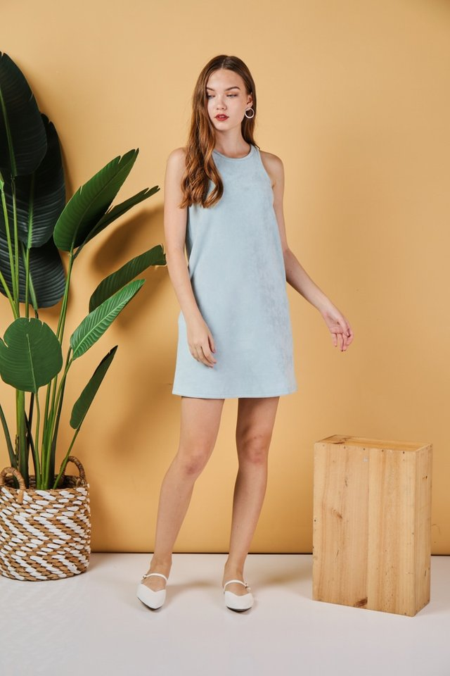 *Online Exclusive* Glenda Suede Cut-In Dress in Mint