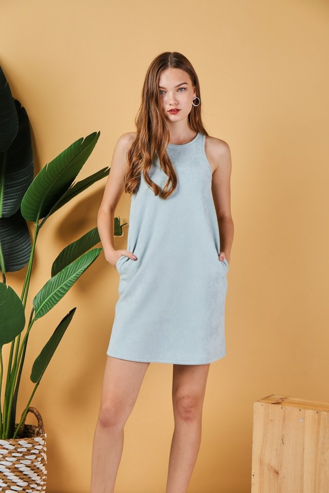 *Online Exclusive* Glenda Suede Cut-In Dress in Mint