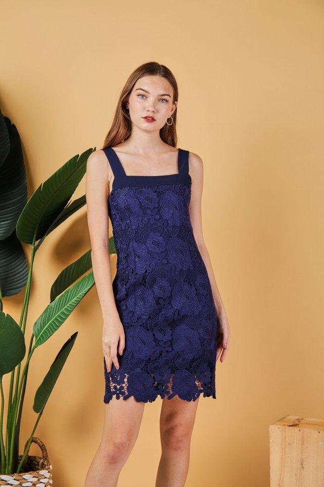 Alexa Premium Rose Crochet Dress in Navy