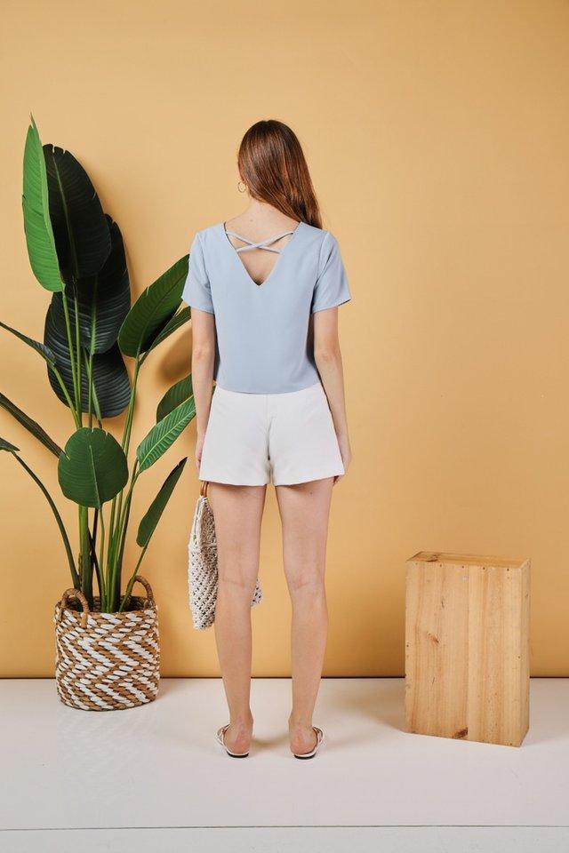 KeIly Crossback Sleeved Top in Blue