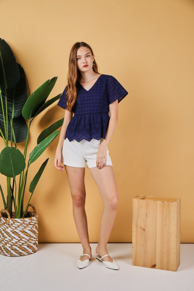 Jaelyn Eyelet Babydoll Top in Navy