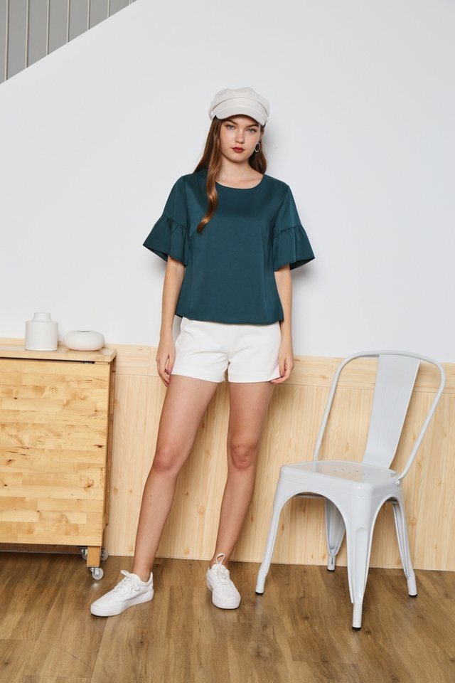 Addisyn Ruffles Sleeves Top in Forest
