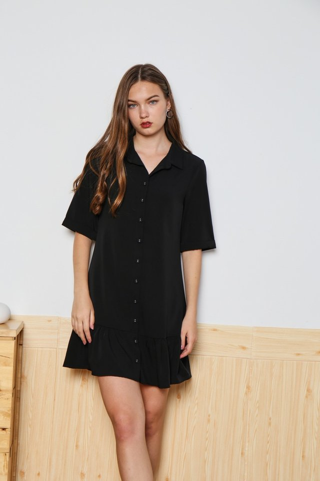 Joelle Collar Shirt Dropwaist Dress in Black