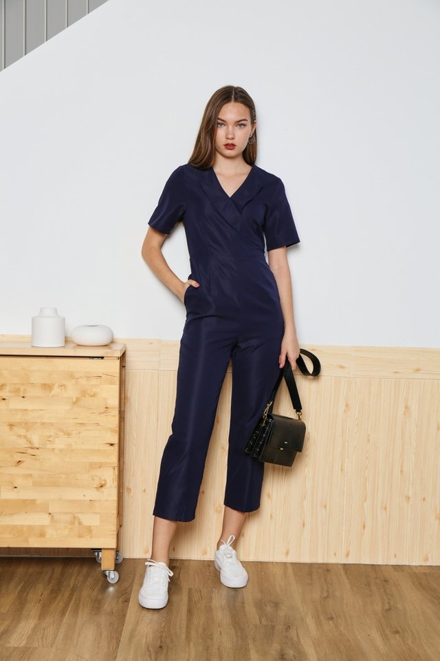 Estella Wrap Front Jumpsuit in Navy
