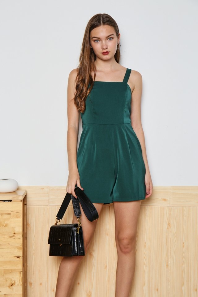 Deborah Pocket Romper in Forest