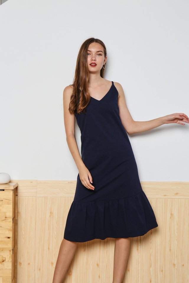 Baize Dropwaist Midi Dress in Navy