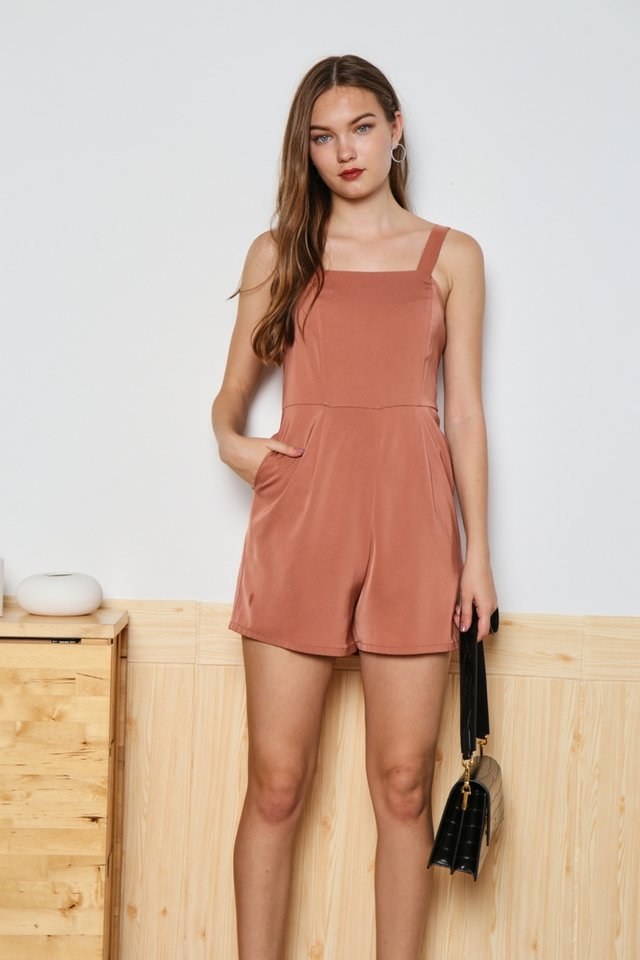 Deborah Pocket Romper in Salmon