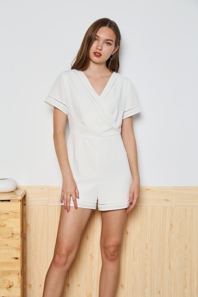 Nicole Eyelet Trim Romper in White