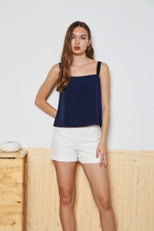 Marleigh Square Neck Top in Navy