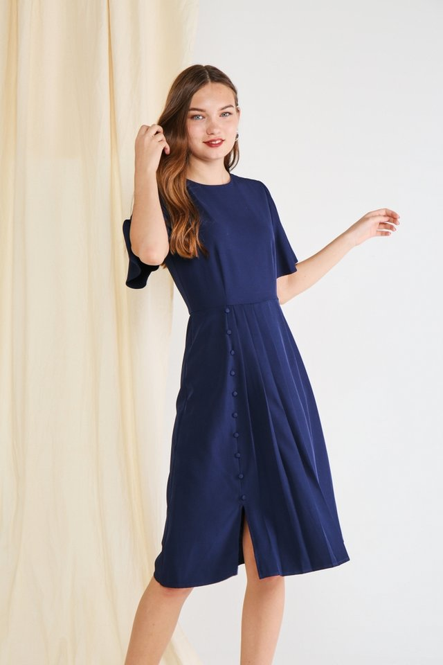Adele Pleated Button Midi Dress in Navy