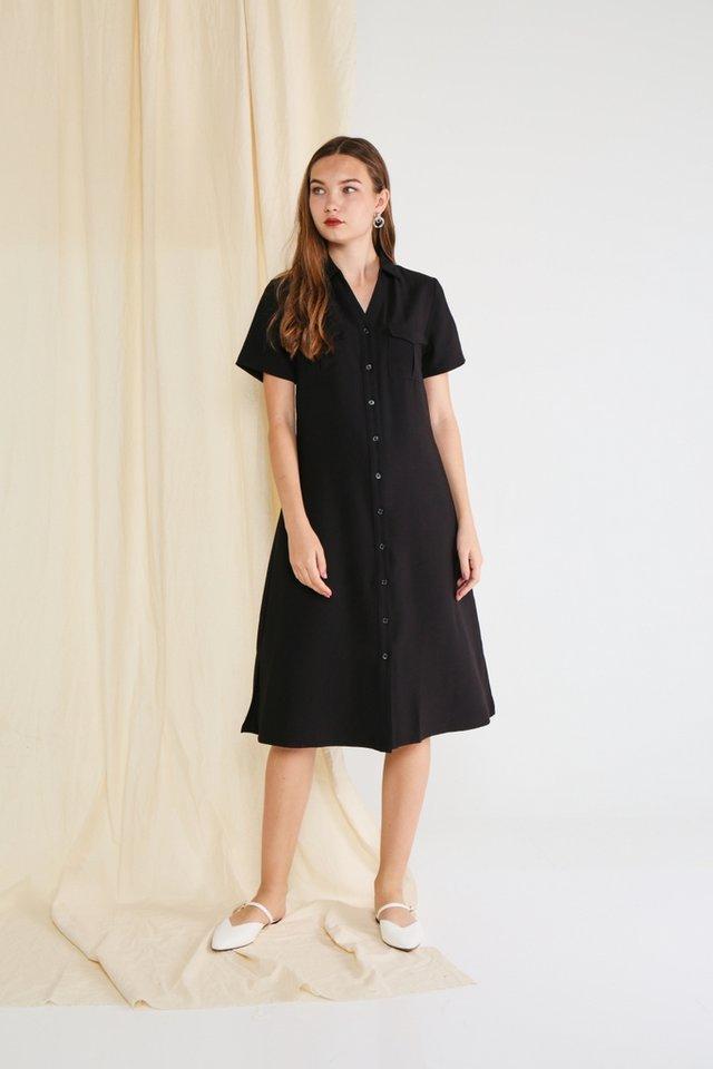 *BACKORDER* Bailee Button Shirt Dress in Black