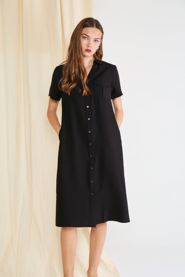 Bailee Button Shirt Dress in Black