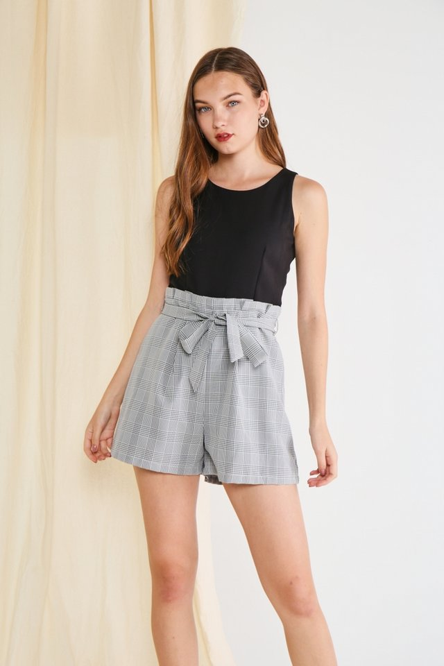 Malka Plaid Paperbag Romper in Black