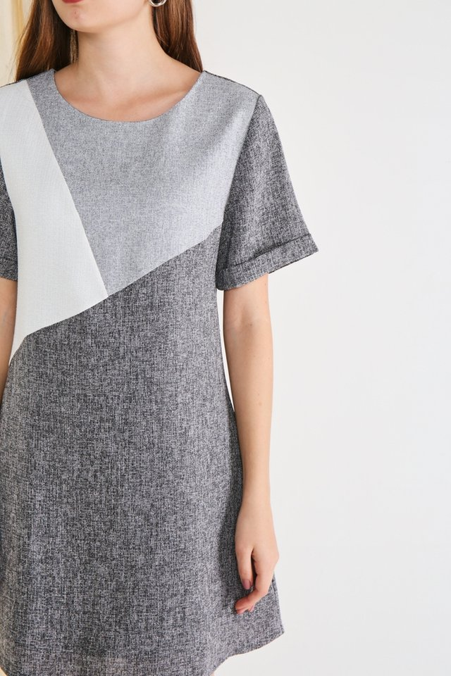 Melany Colourblock Tweed Dress in Grey