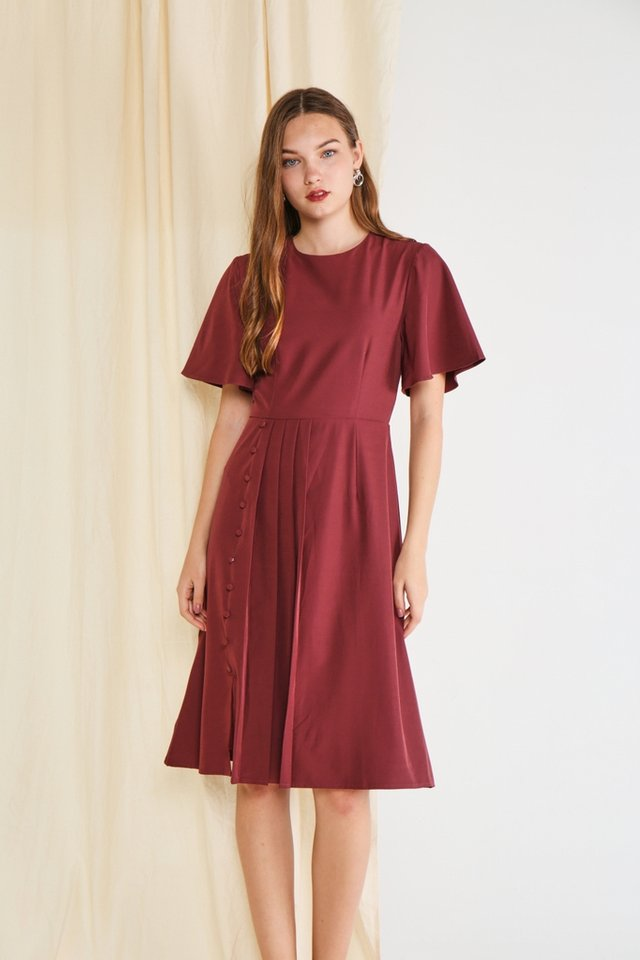 Adele Pleated Button Midi Dress in Plum