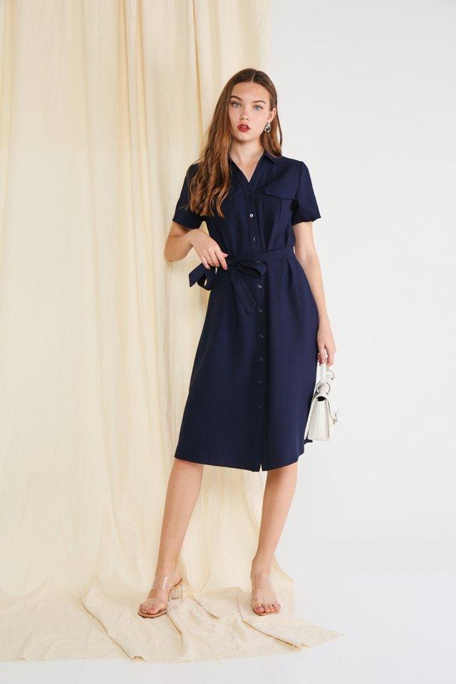 *BACKORDER* Bailee Button Shirt Dress in Navy