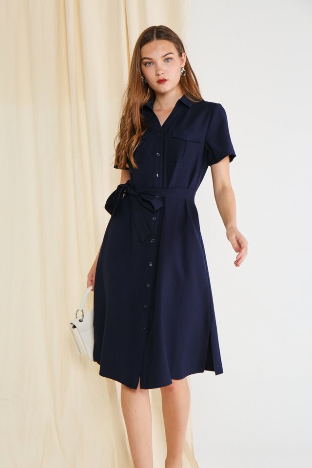 Bailee Button Shirt Dress in Navy